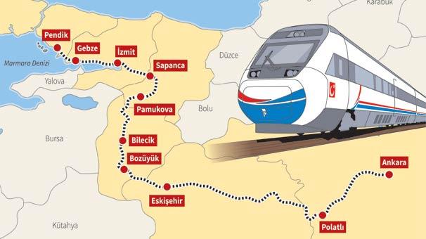 YHT'nin İstanbul-Ankara arası durakları
