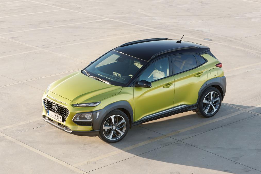 Hyundai Kona yeşil ön çapraz 2018