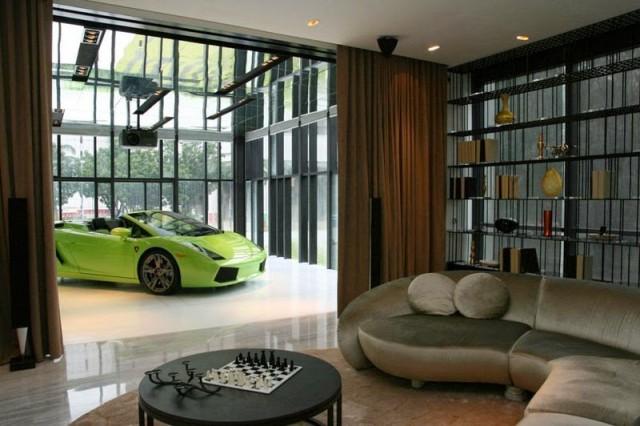 singapur gökdelen garajı yeşil lamborghini