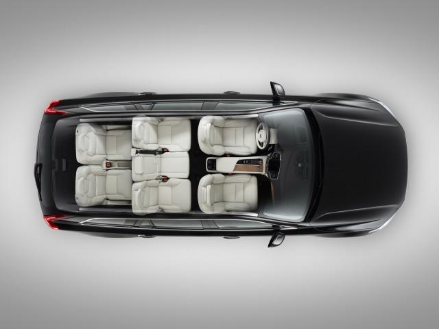 Volvo XC90 oturma düzeni, 7 kişilik koltuklar, üstten görünüm, iç alan, kabin