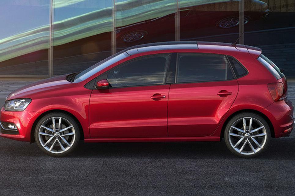 Volkswagen Polo, bahar makyajı, son makyaj, volkswagen, kırmızı, yan görünüm